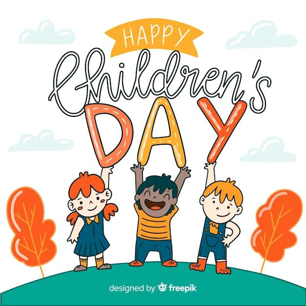 Hand drawn children's day background Free Vector