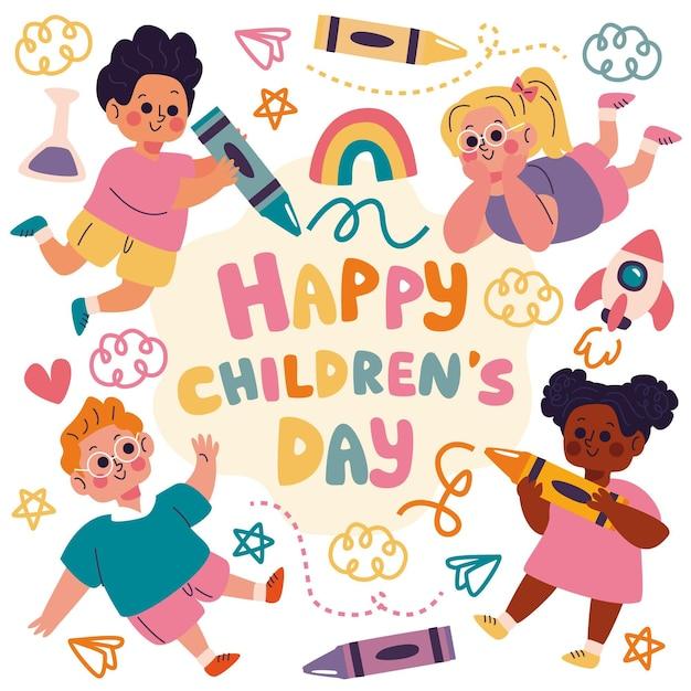 Giorno e disegni dei bambini disegnati a mano Vettore gratuito