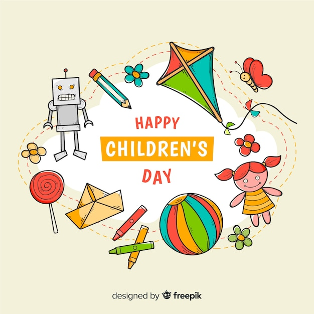 Hand drawn children's day toys Free Vector