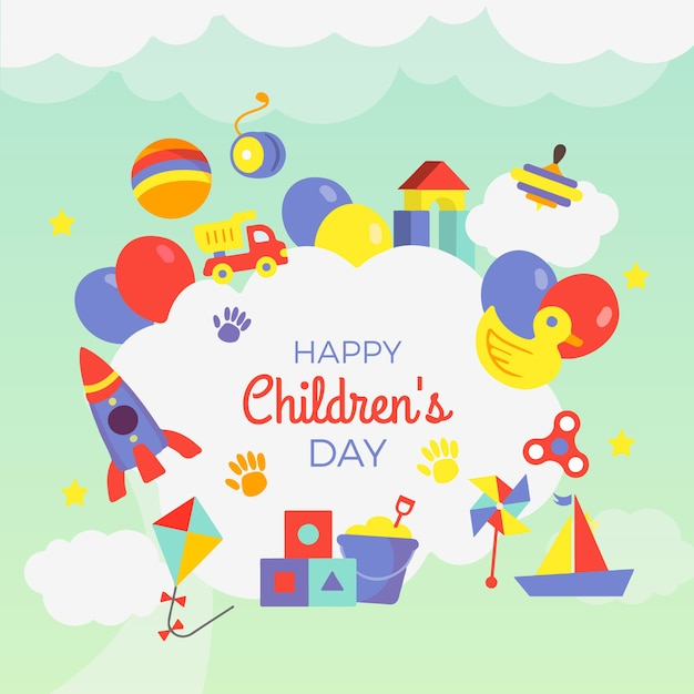 Hand drawn children's day wallpaper Premium Vector