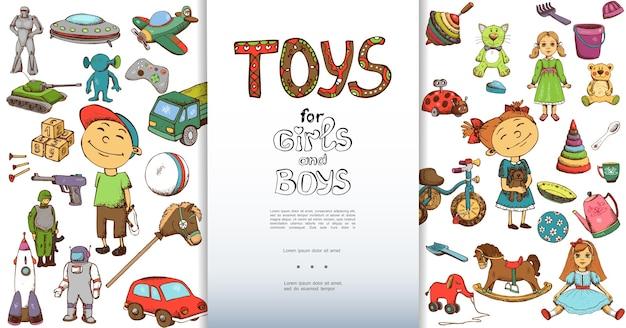 Hand drawn children toys background Free Vector
