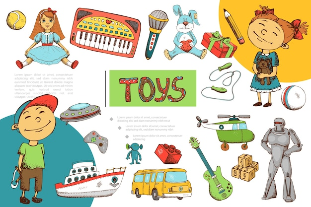 Hand drawn children toys composition Free Vector