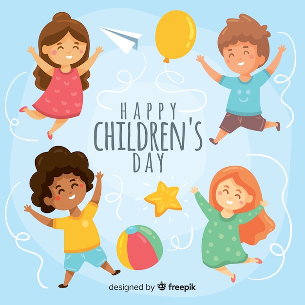 Hand drawn childrens day background Free Vector