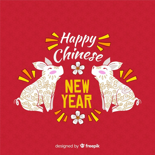 Hand drawn chinese new year 2019 background Free Vector