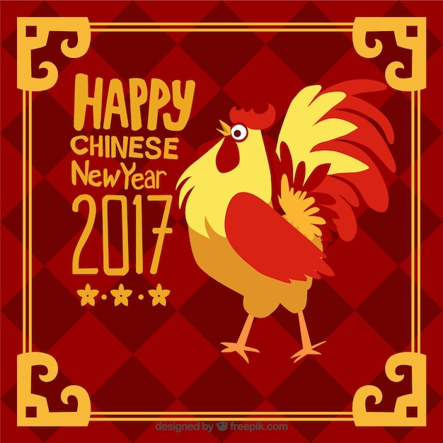 Hand-drawn chinese new year background with golden frame and rooster ...