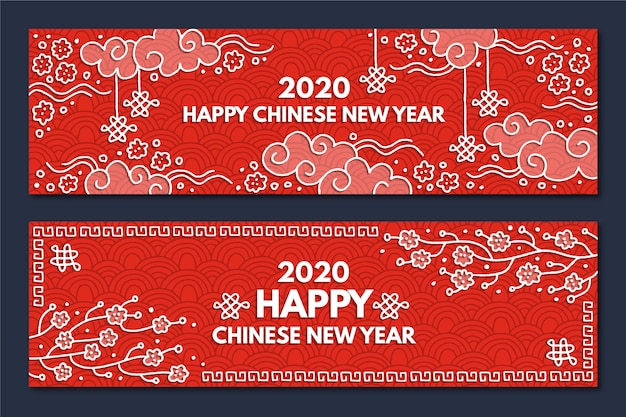 Hand-drawn chinese new year banners Free Vector