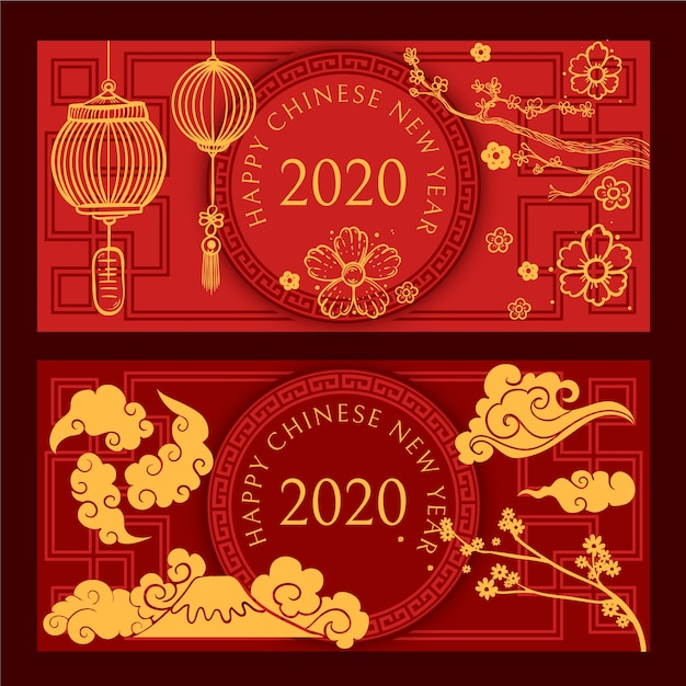 Hand drawn chinese new year banners Free Vector