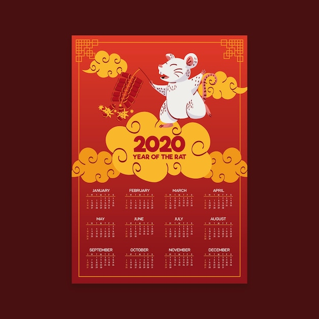 Hand drawn chinese new year calendar with gradient Free Vector