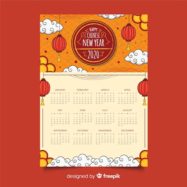 Hand drawn chinese new year calendar Free Vector