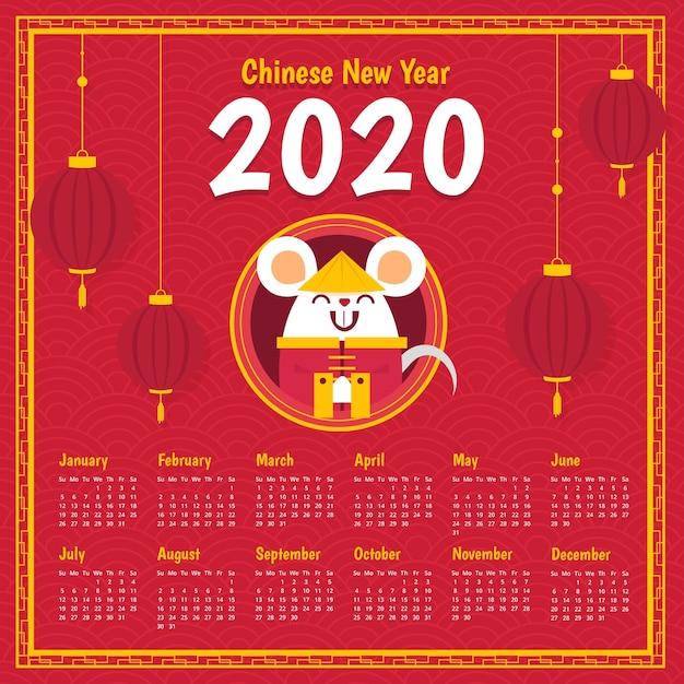 Hand drawn chinese new year calendar Free Vector