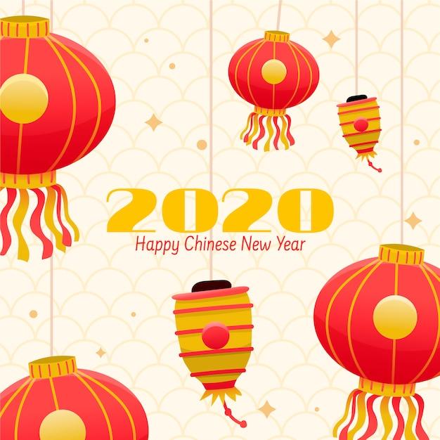 手描きの中国の新年のコンセプト 無料ベクター