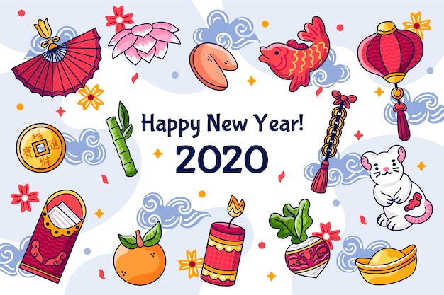 Hand drawn chinese new year concept Free Vector