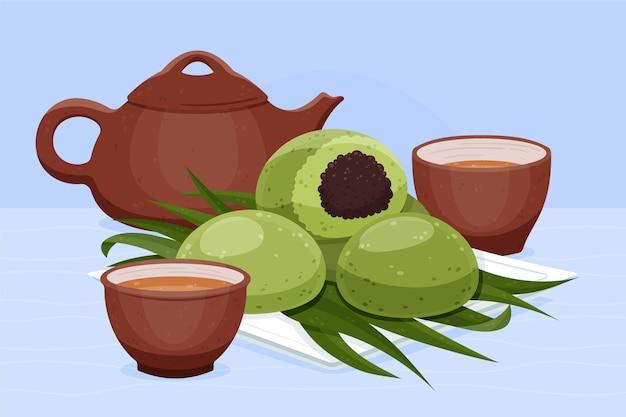 Illustrazione disegnata a mano degli gnocchi di ching ming Vettore gratuito