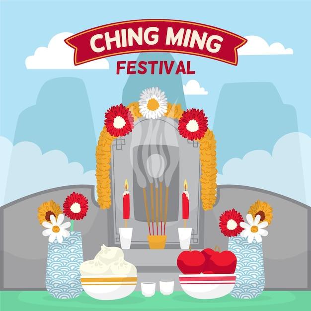 Illustrazione disegnata a mano del festival di ching ming Vettore gratuito