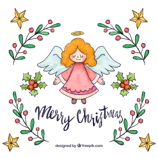 Hand drawn christmas angel background Free Vector