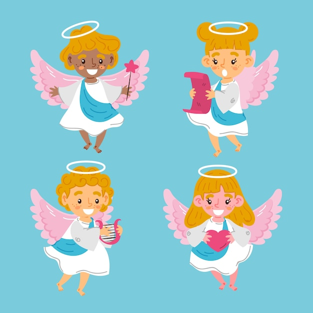 Hand drawn christmas angel collection Free Vector