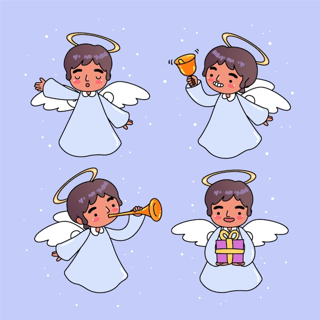 Hand drawn christmas angel pack Free Vector