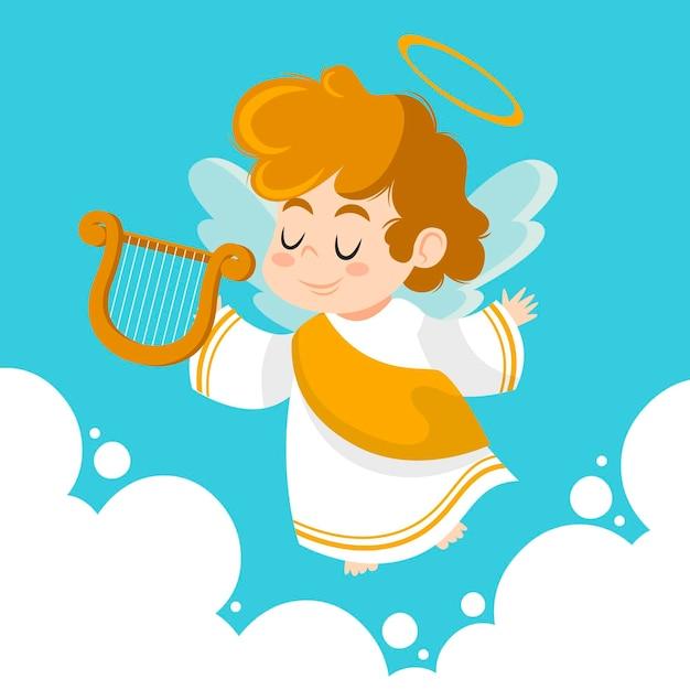 ハープと手描きのクリスマスの天使 無料ベクター