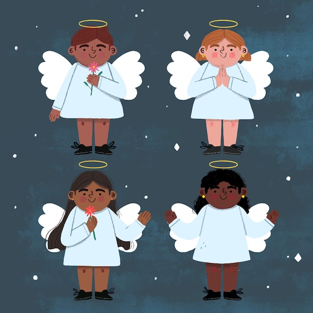 Hand drawn christmas angel Free Vector
