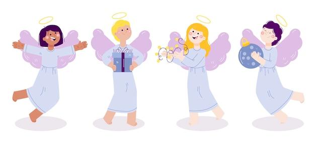 Pacchetto di angeli di natale disegnati a mano Vettore gratuito