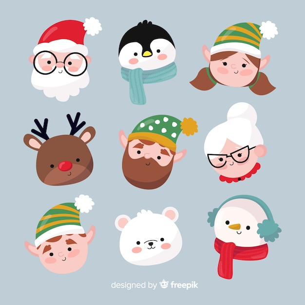 Hand drawn christmas avatar collection Free Vector
