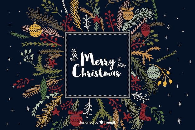 Hand drawn christmas background decoration Free Vector