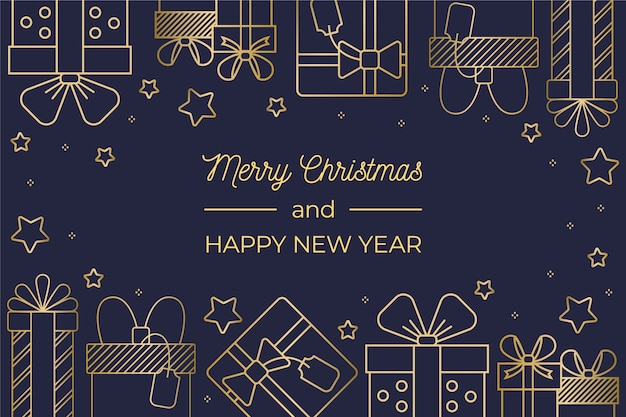 Hand drawn christmas background in outline style Free Vector