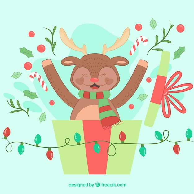 Hand drawn christmas background with a happy reindeer