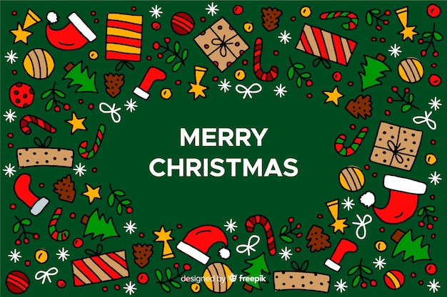 Hand drawn christmas background with christmas elements Free Vector