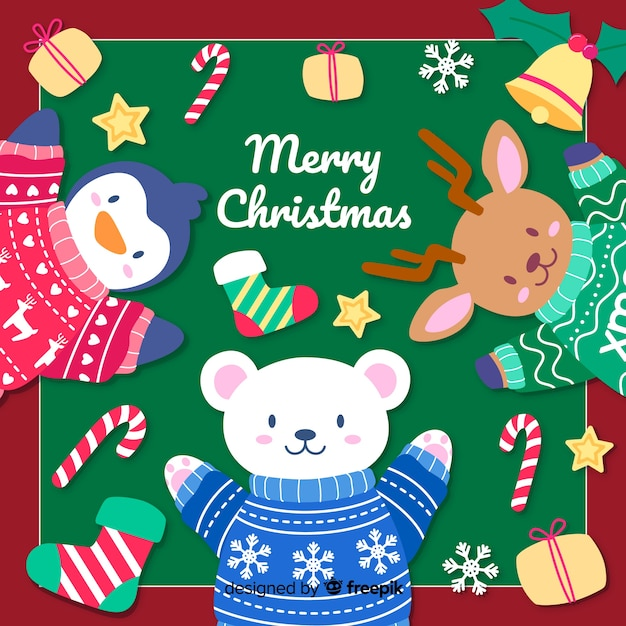 Hand drawn christmas background with cute animals Free Vector