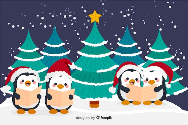 Hand drawn christmas background with cute penguins Free Vector
