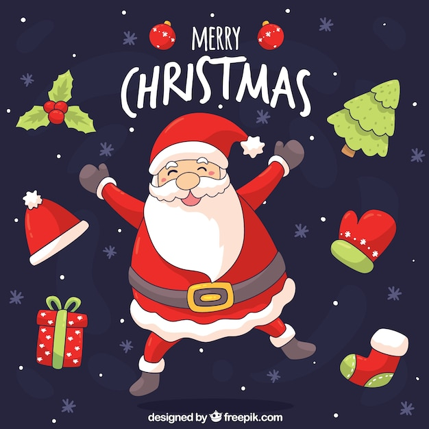 Hand drawn christmas background with happy santa claus