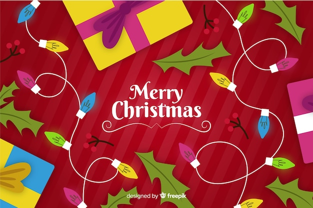Hand drawn christmas background with lights and gifts Free Vector