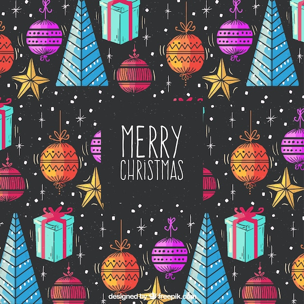 Hand drawn christmas background with a pattern Free Vector