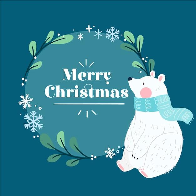 손으로 그린 북극곰과 크리스마스 배경 무료 벡터