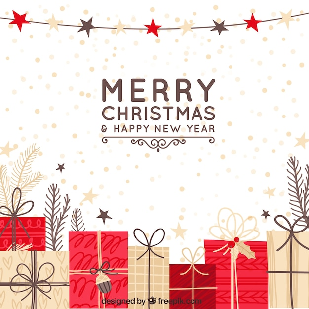 Hand drawn christmas background with red and beige gift boxes Free Vector