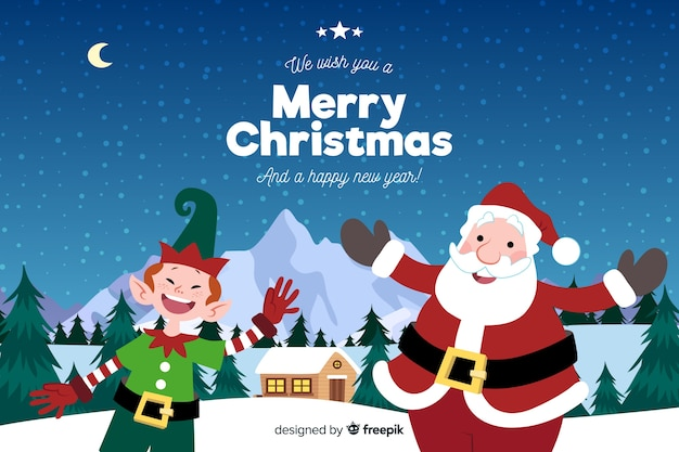 Hand drawn christmas background with santa claus and elf Free Vector