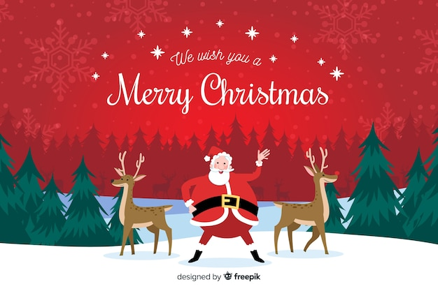 Hand drawn christmas background with santa claus and reindeers Free Vector