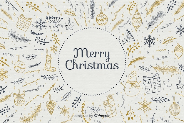 Hand drawn christmas background Premium Vector