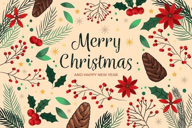 手描きのクリスマスの背景 無料ベクター