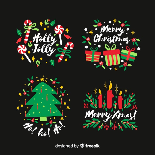 Hand drawn christmas badge on black background Free Vector