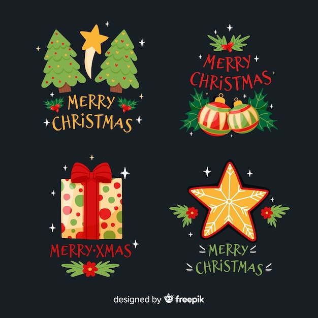 Hand drawn christmas badge collection Free Vector