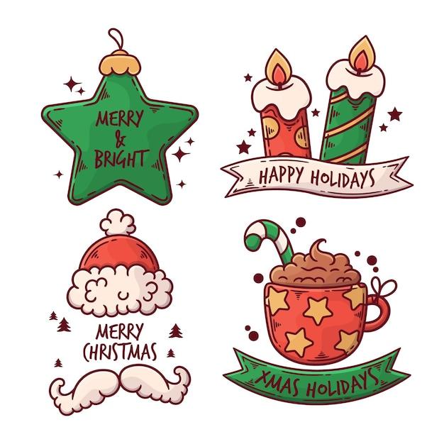 Коллекция рисованной рождественских значков Бесплатные векторы