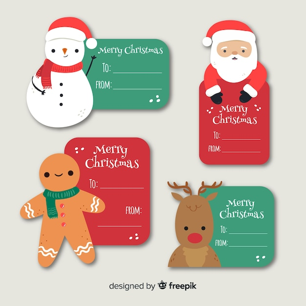 Hand drawn christmas badges collection Free Vector