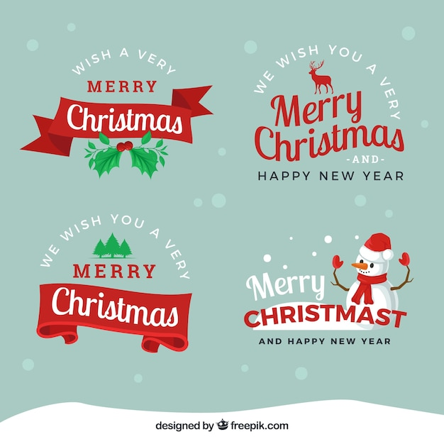 Hand drawn christmas badges on a blue background