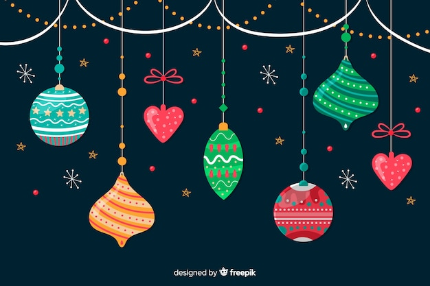 Hand drawn christmas balls collection Free Vector