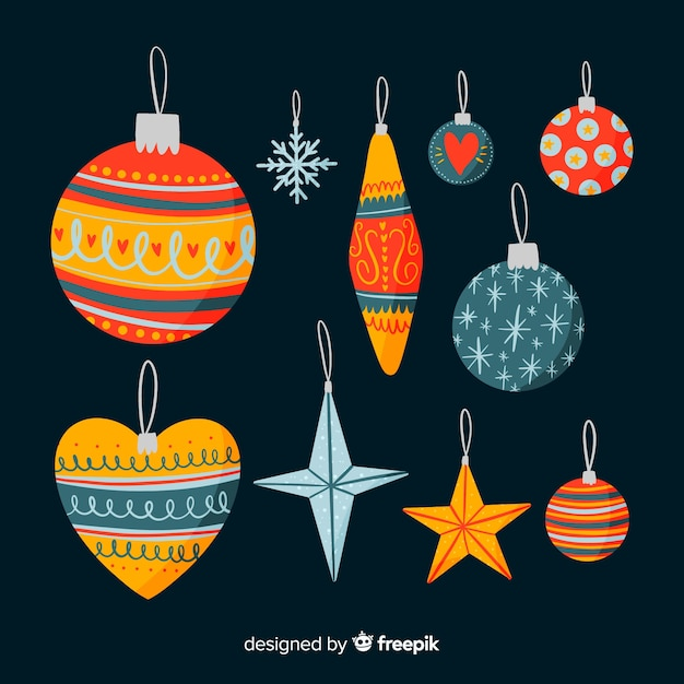 Hand drawn christmas balls set Free Vector