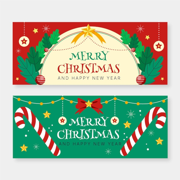 Hand drawn christmas banners template Free Vector