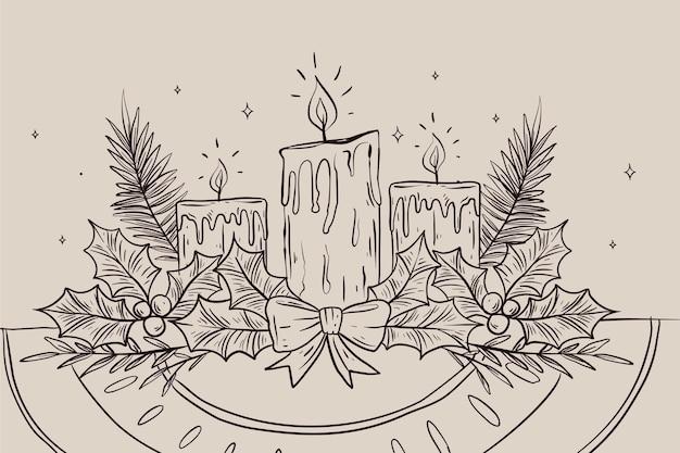 Рождественский фон свечи Бесплатные векторы