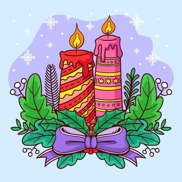 Fondo disegnato a mano della candela di natale Vettore gratuito